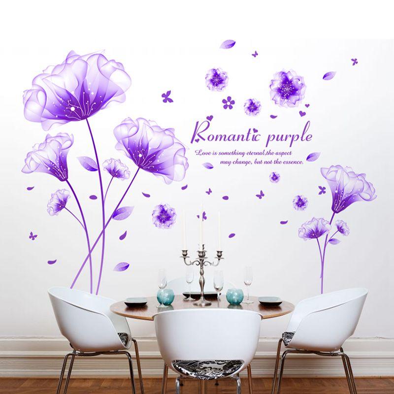 Wonderful [SHIJUEHEZI] Flower Wall Sticker Purple Color Romantic Vinyl Material  Removable Living Room Decorative Mural