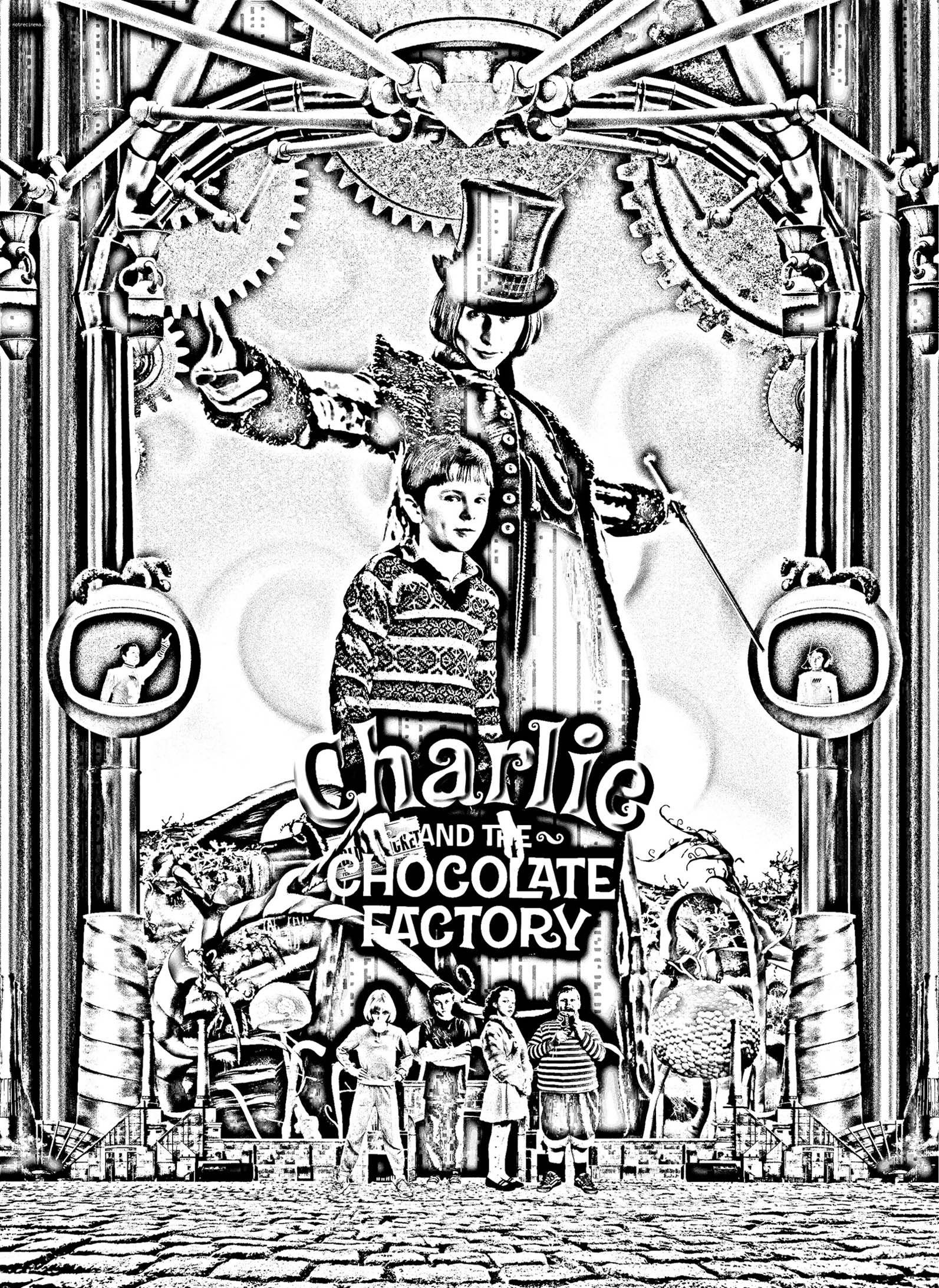 Charlie Et La Chocolaterie Dessin : charlie, chocolaterie, dessin, Coloriage, Affiche, Charlie, Chocolaterie, Burton, Chocolaterie,