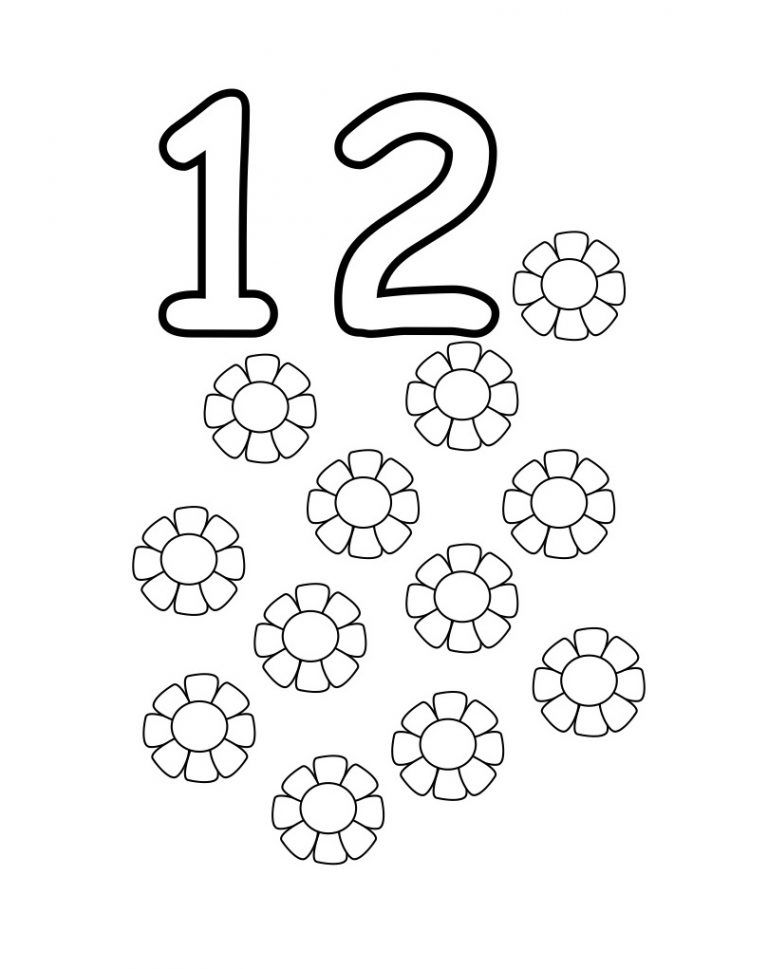 Number 12 Coloring Pages In 2020 Coloring Pages Color Print