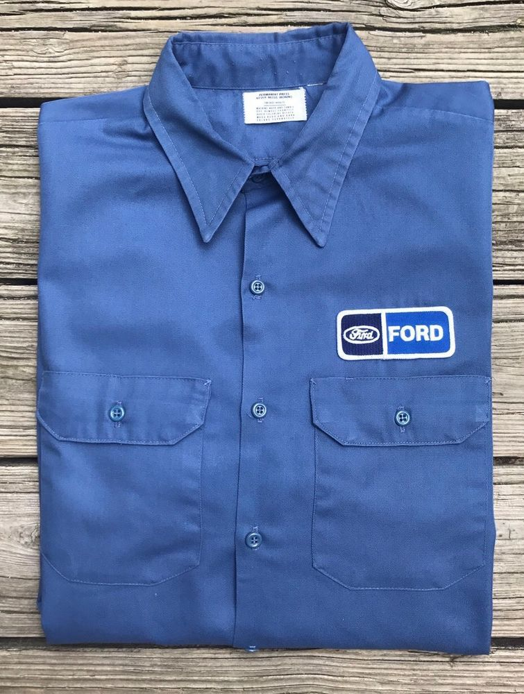 e3ceeedc06 Vintage 80s FORD Uni-Form Slate Blue Longsleeve Mechanic Garage Shirt Men's  XL #UniForm #ButtonFront