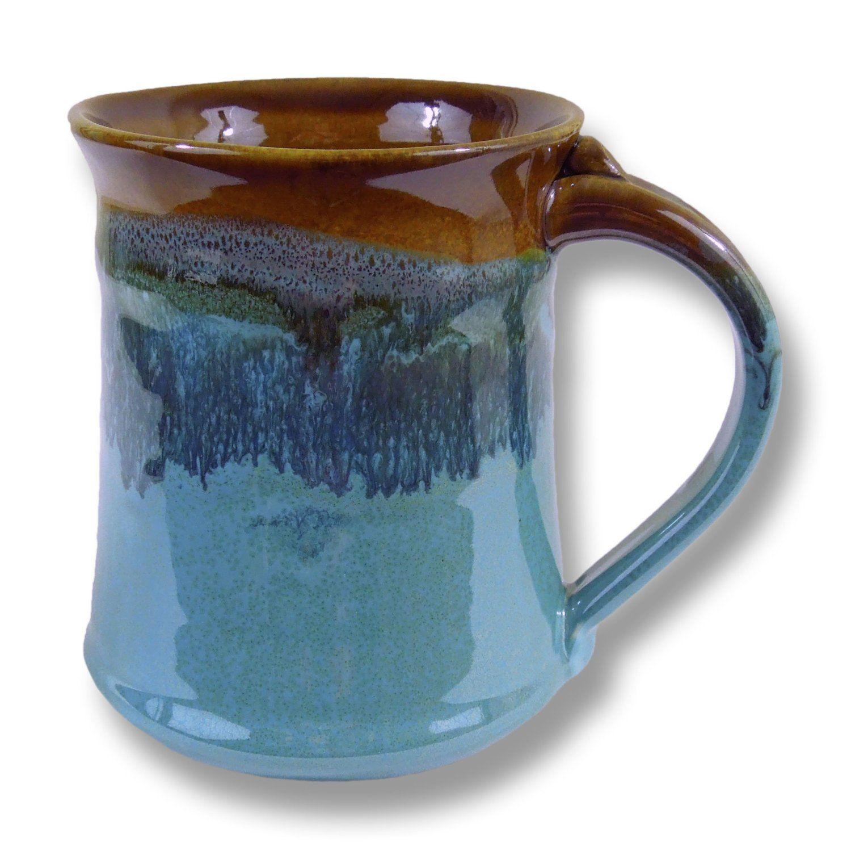 Amazon.com: Clay In Motion Handmade Ceramic Medium Mug 16oz - Ocean Tide…