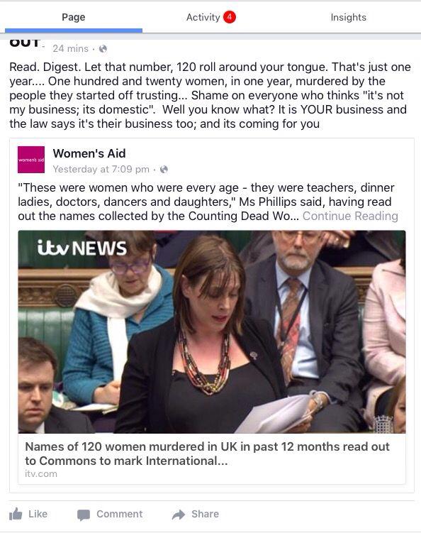 Domestic violence - 120 dead women in one year. UK