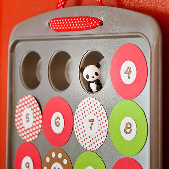 DIY advent calendar from mini muffin tin (with 24 cups). Cover each hole with magnets (or could just attach with double-sided tape). Fill inside with treats (or I think in my case papers that list a short activity to do together).