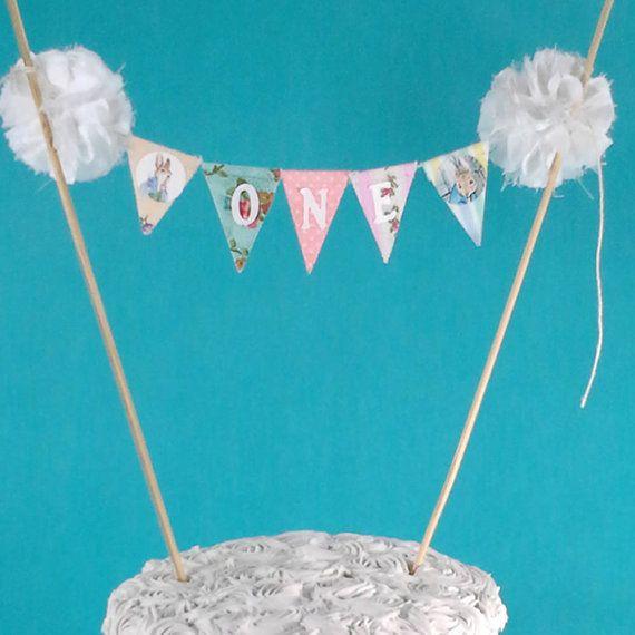 Peter Rabbit Cake banner smash cake birthday by Hartranftdesign