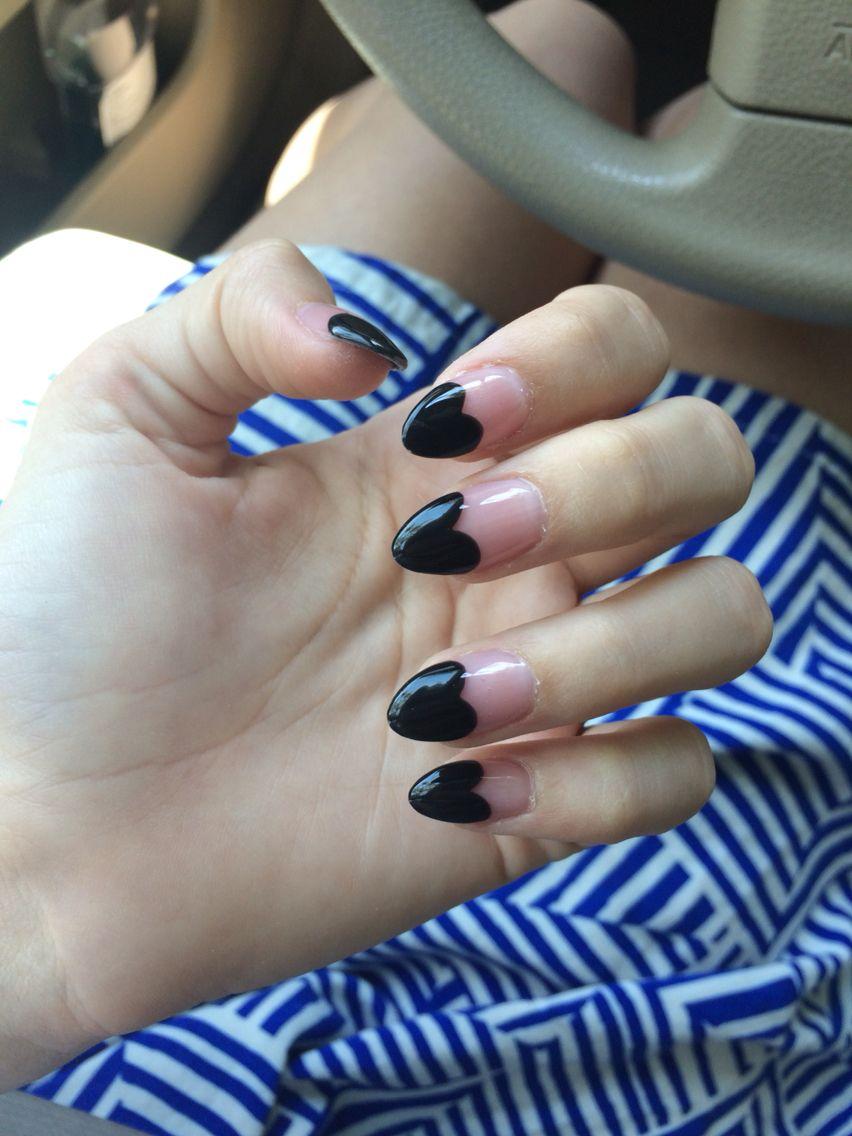 almond shaped black heart acrylic nail design