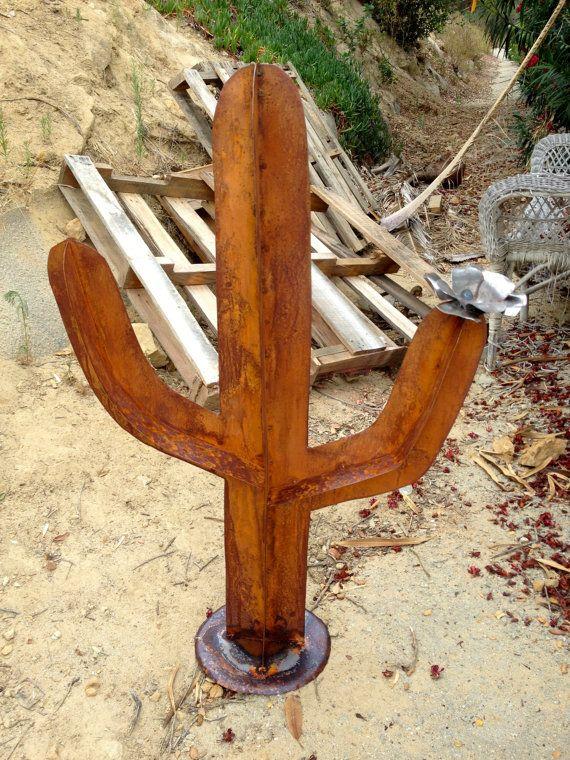 3 Ft Tall Rustic Saguaro with Raw Steel Flower, Metal Garden