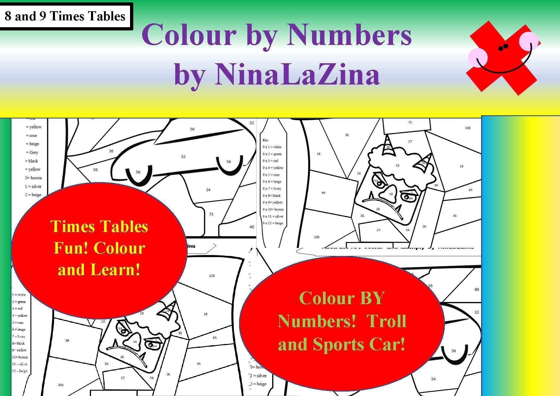 Times Table Colouring Sheets Colour By Numbers Sports Car Etsy In 2020 Color By Numbers Times Tables Multiplication Facts Games