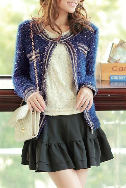 Starry Night Glittery Plush Knit Cardigan in Royal Blue | Sincerely Sweet Boutique