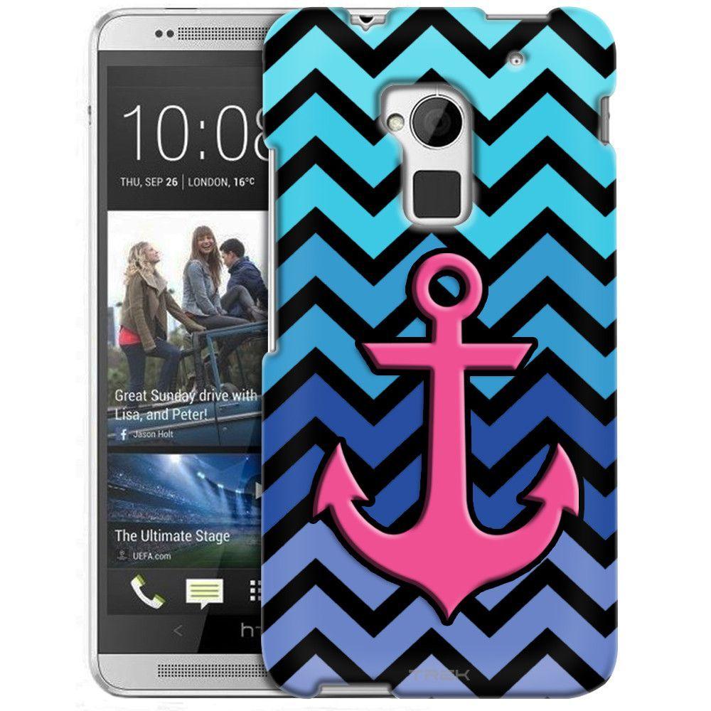 HTC One Max Anchor on Chevron Teal Blue Black Slim Case