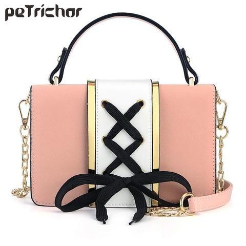 cd2632ec7c Bow Lace Designer Shoulder Bag Women Handbag Flap Chain Patchwork Ladies  Purse Crossbody Bags Messenger Female Purses Pu Leather