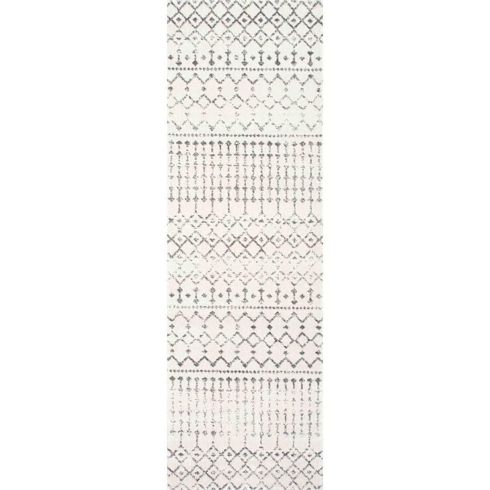 Nuloom Blythe Modern Moroccan Trellis Gray 3 Ft X 12 Ft Runner Rzbd16a 28012 Gray Runner Rug Grey Area Rug Area Rugs