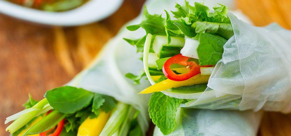 Grønnsaksruller med mango og frisk ingefær