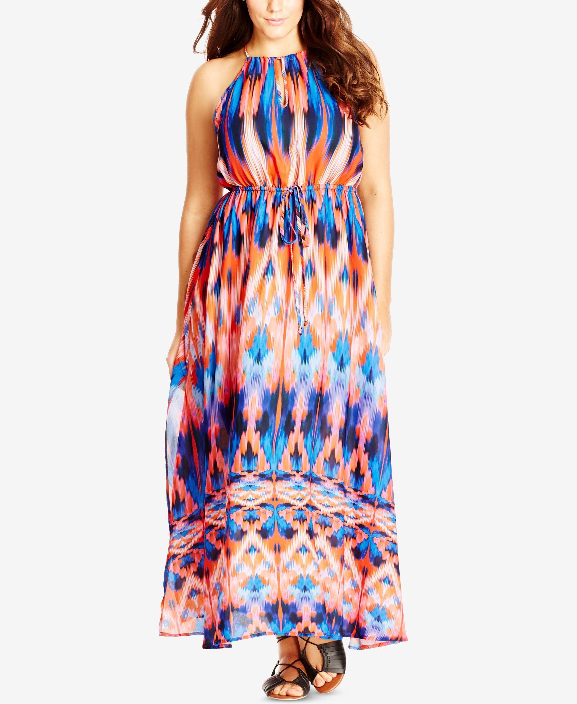 City Chic Plus Size Ikat Print Halter Maxi Dress Dresses Plus Sizes Macy S Tropical Maxi Dress Maxi Dress Style Maxi Dress [ 2378 x 1947 Pixel ]