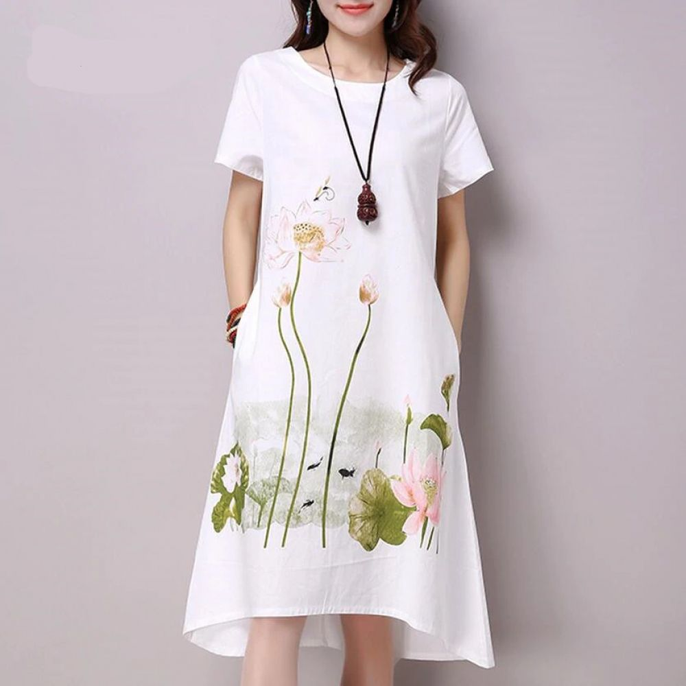 Saiqigui summer dress plus size short sleeve white women