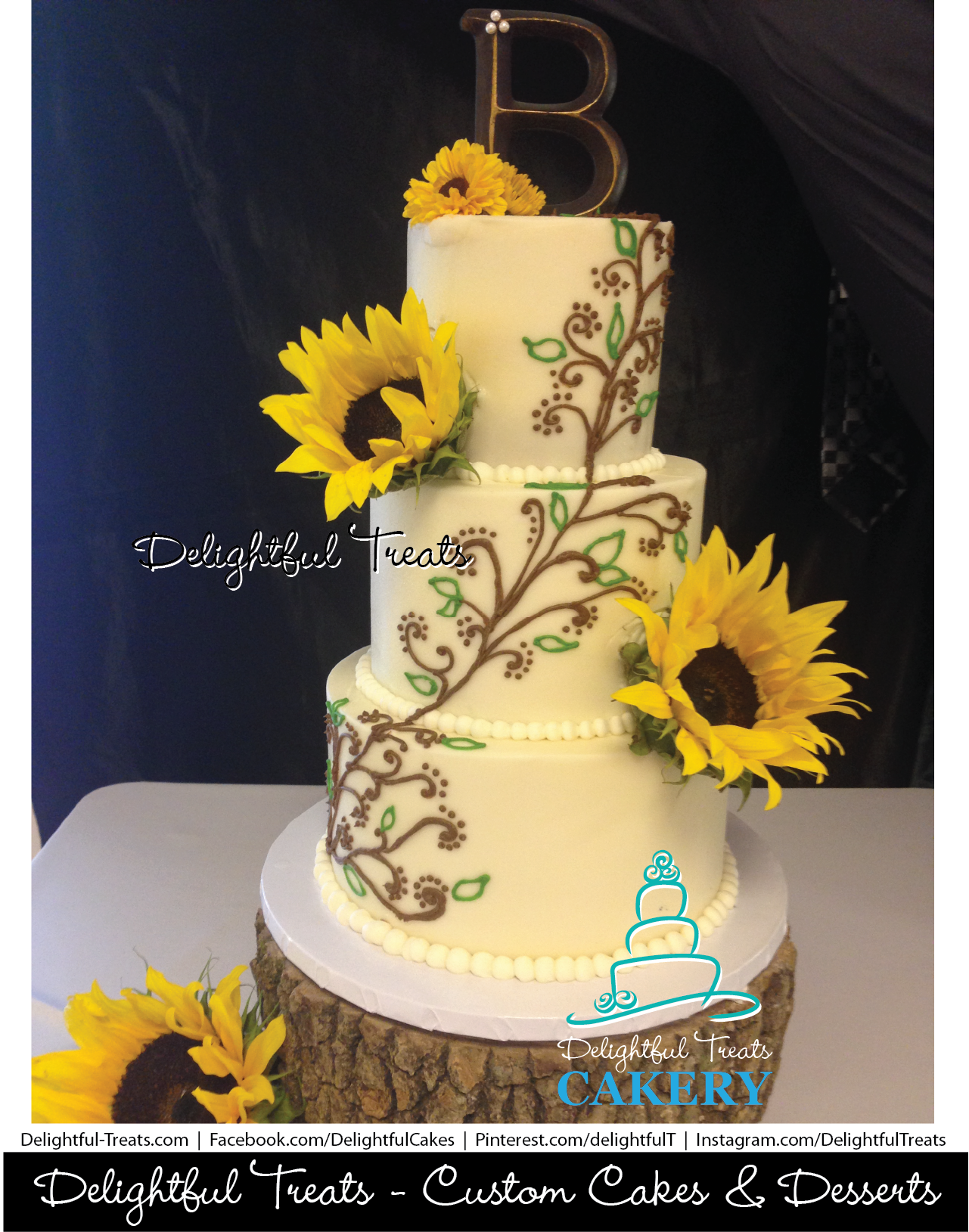 Sunflower Wedding Cake With Brown & Green Scroll Piping by ...
