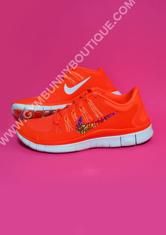 5608198806a Image of Custom Nike Bright Orange Free Run 5.0 With Glitter Tick ...