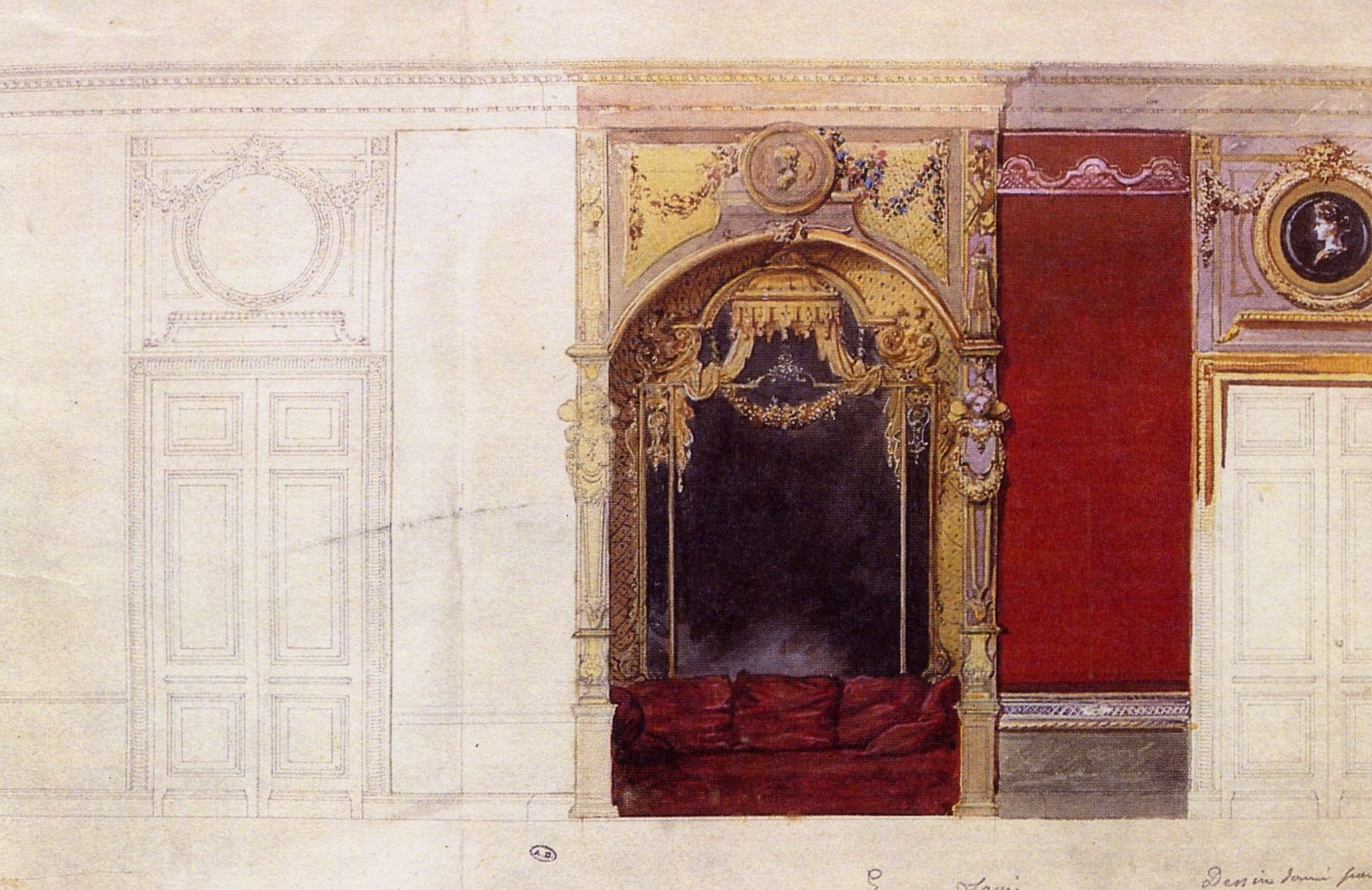 ferrieres. - design for the seating recess in the billiard room