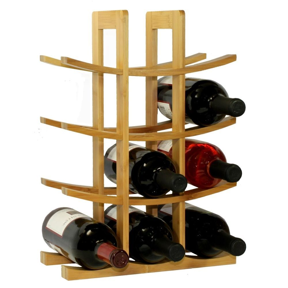 12 Bottle Wine Rack Modern Asian Style In Natural Bamboo Modern Wine Rack Wooden Wine Rack Wine Rack