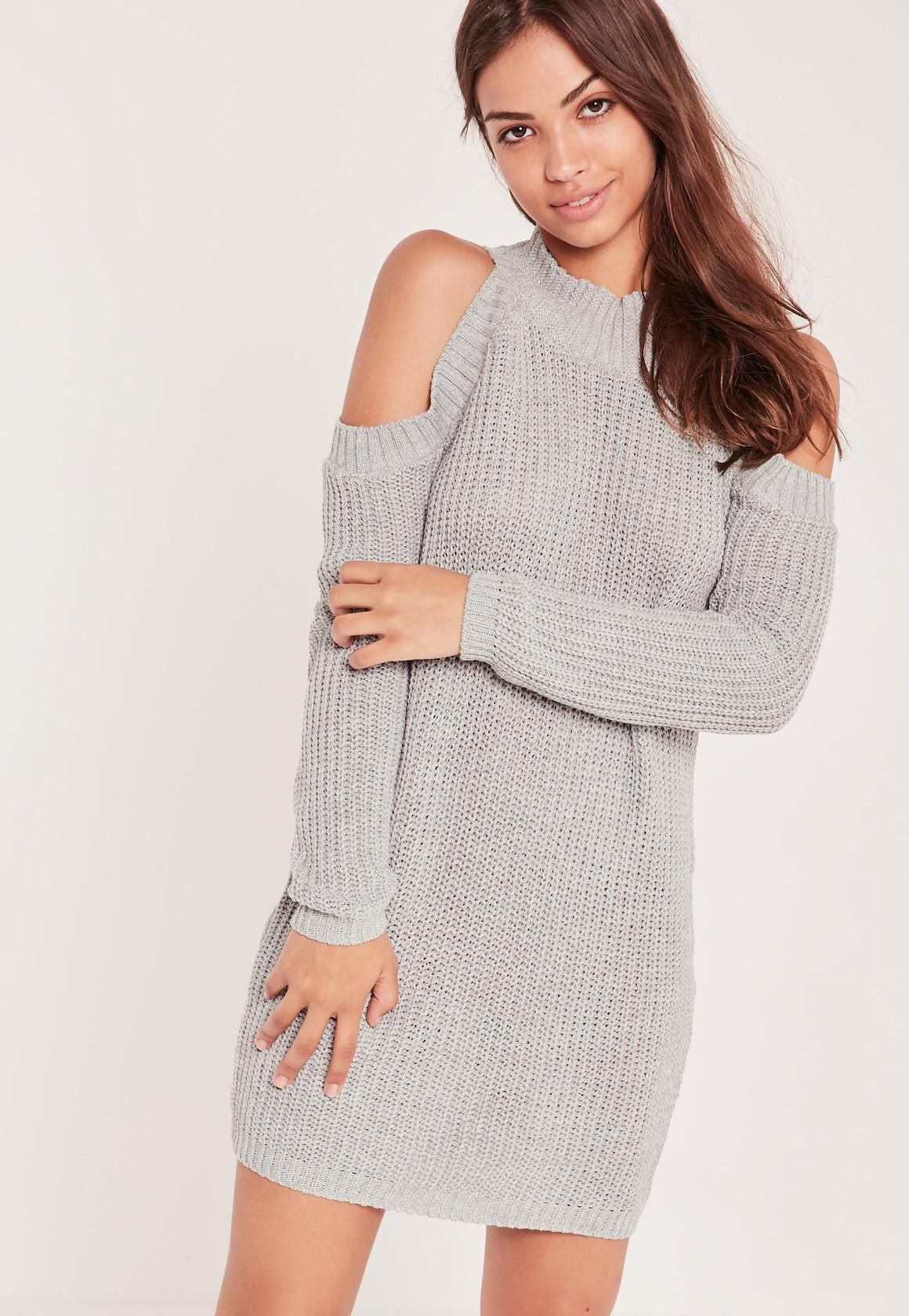 Top Missguided - Robe-pull grise épaules dénudées | Fringue / Robe  OK49