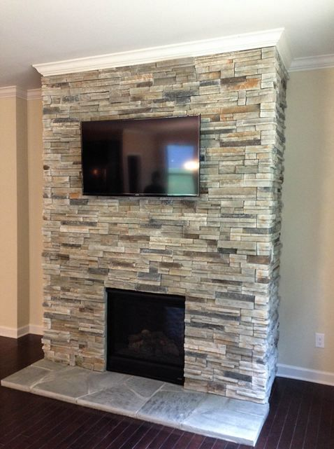 Another Design Is To Arch Stonework Around The Existing Square Stone Fireplace And Cover Any Revealing Metal Under Curve With Matching For A