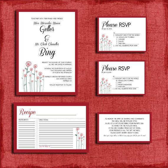 Printable Modern Rose Potluck Style Wedding Invitation Set Includes