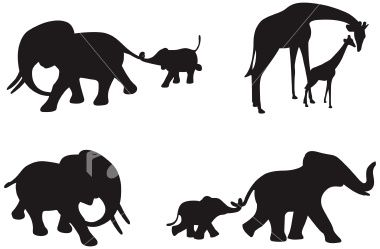 Four Different Silhouettes Of African Elephants And Giraffe With Baby Animal Silhouette Elephant Silhouette Animal Stencil