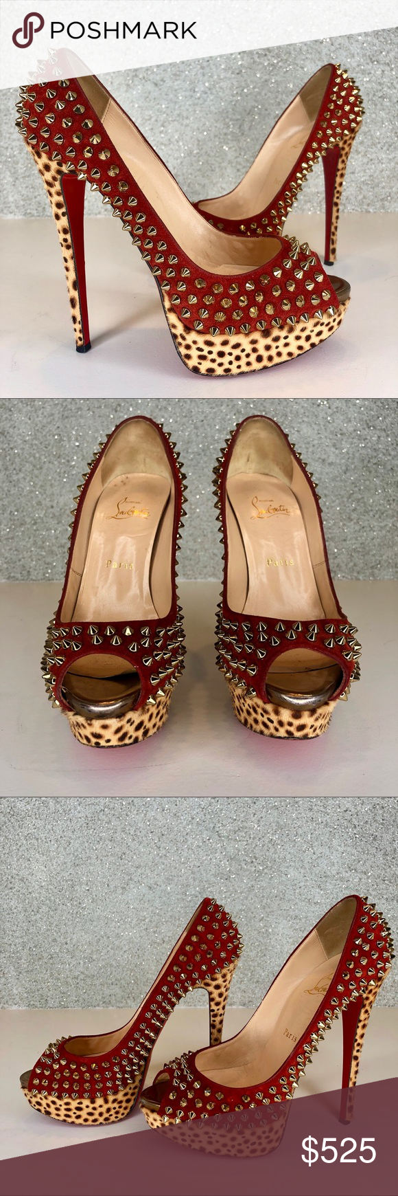 f42b0b4c0a6b Spotted while shopping on Poshmark  LOUBOUTIN Suede Leopard Pony Lady Peep  Spikes 150!