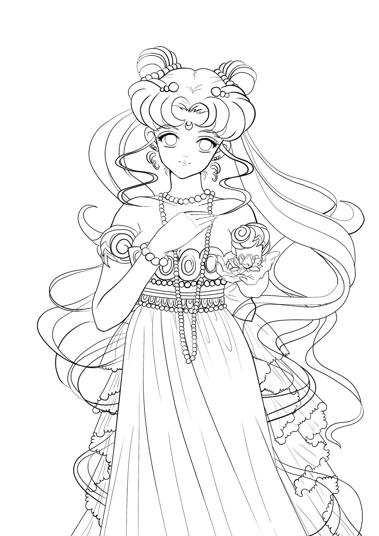 Princess Serenity Line Art By 0lesya On Deviantart Sailor Moon Coloring Pages Sailor Moon Crystal Sailor Moon Art