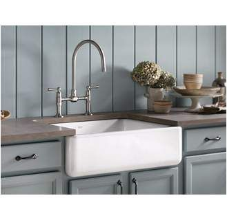 """Sometimes called a """"farmhouse sink"""", this beautiful style evokes the charm of a traditional kitchen and can be installed with only minor modifications to existing kitchen cabinetry and countertops."""