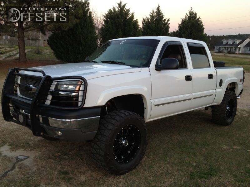 Wheel Offset 2005 Chevrolet Silverado 1500 Aggressive 1 Outside Fender Suspension Lift 6 Custom Rims