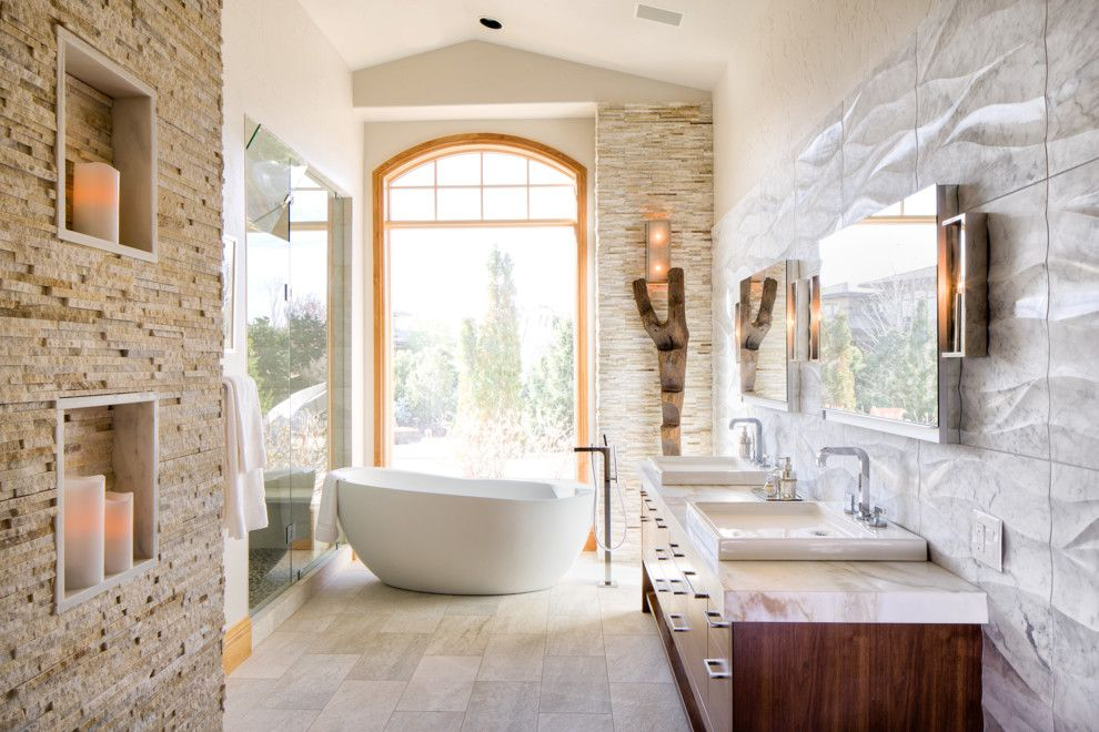Stacked Stone Tile Bathroom Contemporary With Arch Window Double