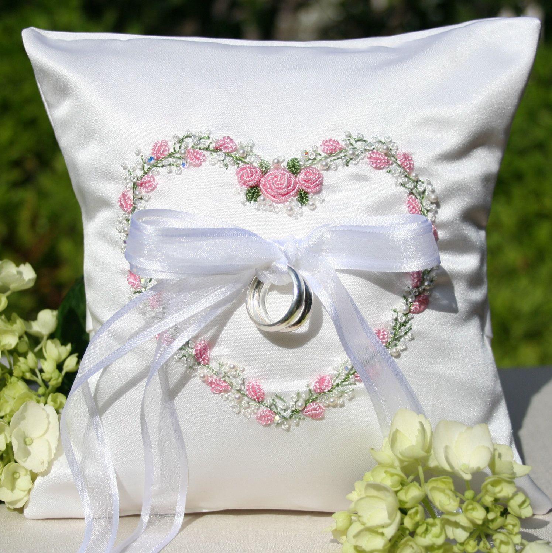 garden floral heart wedding ring pillow-pink | heart of the matter