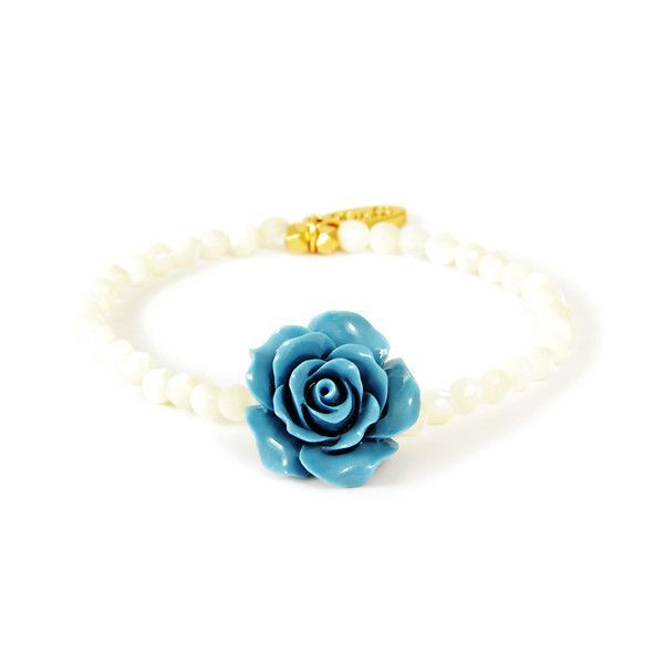 Mother of Pearl Beaded Elastic Bracelet with Turquoise Flower Center Bead