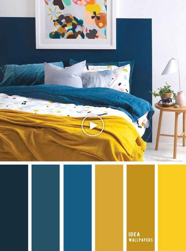 Les 10 Meilleurs Jeux De Couleurs Pour Votre Chambre A Coucher Bleu Moutarde Moutarde De C Colores De Interiores Decoracion Del Dormitorio Interiores De Casa