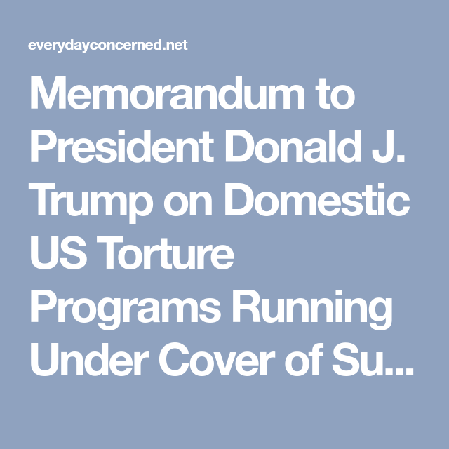 Memorandum To President Donald J Trump On Domestic Us Torture