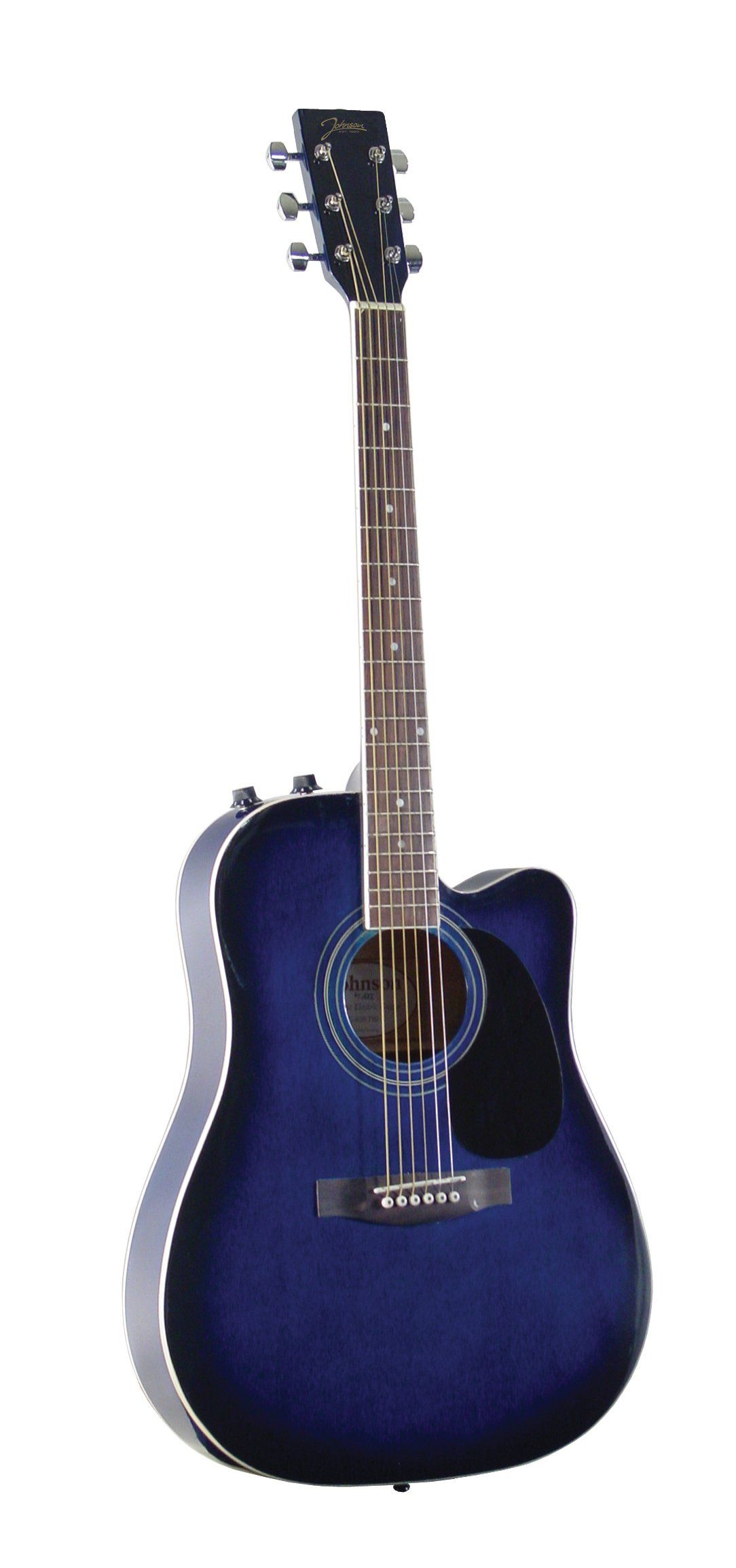 Johnson Jg 650 Tbl Thinbody Acoustic Guitar With Pickup Blueburst Spruce Top Nato Back Sides And Neck Rosewood Fretboard And Bridge Die C Acoustic Guitar Guitar Best Acoustic Guitar