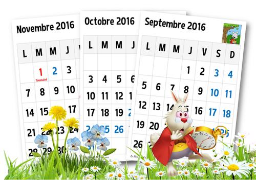Le calendrier 2016-2017