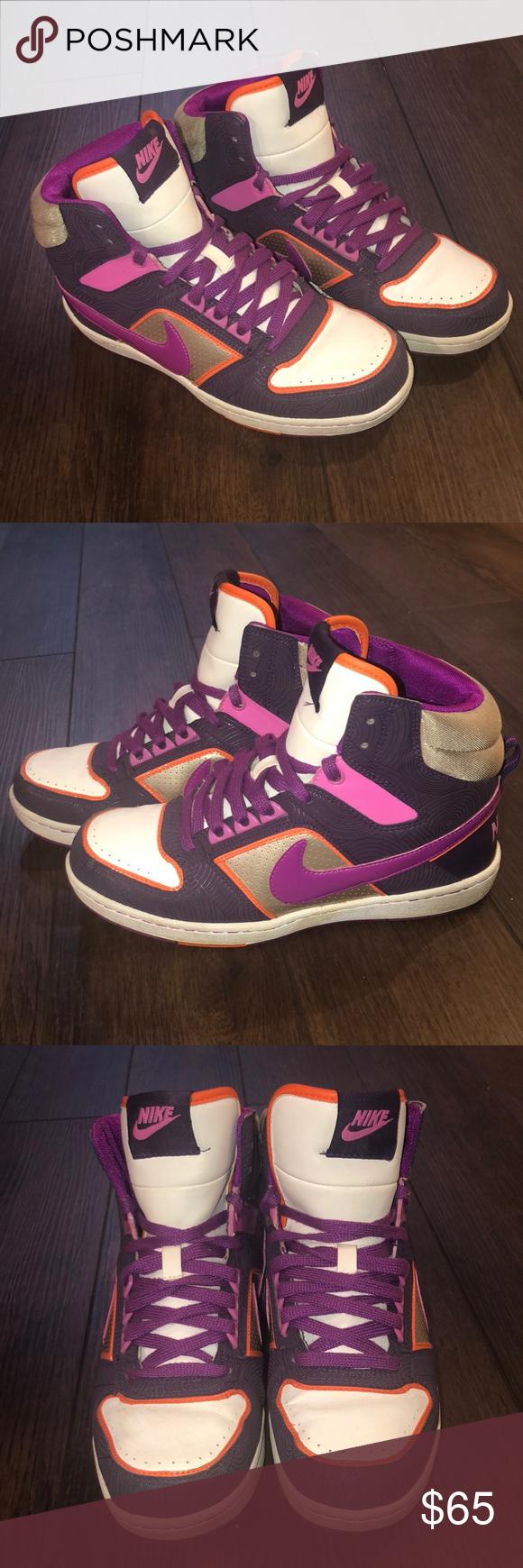 Gold Purple Nike High Tops