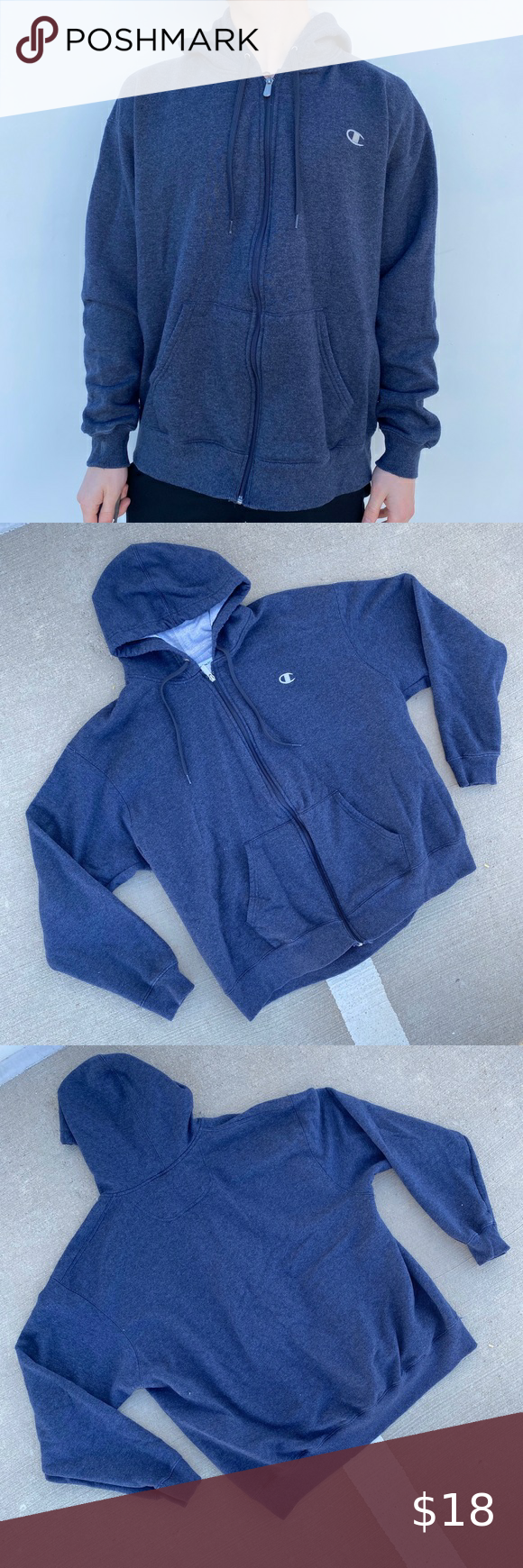 """Navy Blue Champion Hoodie Navy Blue Champion Hoodie Great Condition: 9/10 Men's Size: 2X-Large About me: I am 5' 10"""" for reference I generally wear a medium Champion Shirts Sweatshirts & Hoodies"""