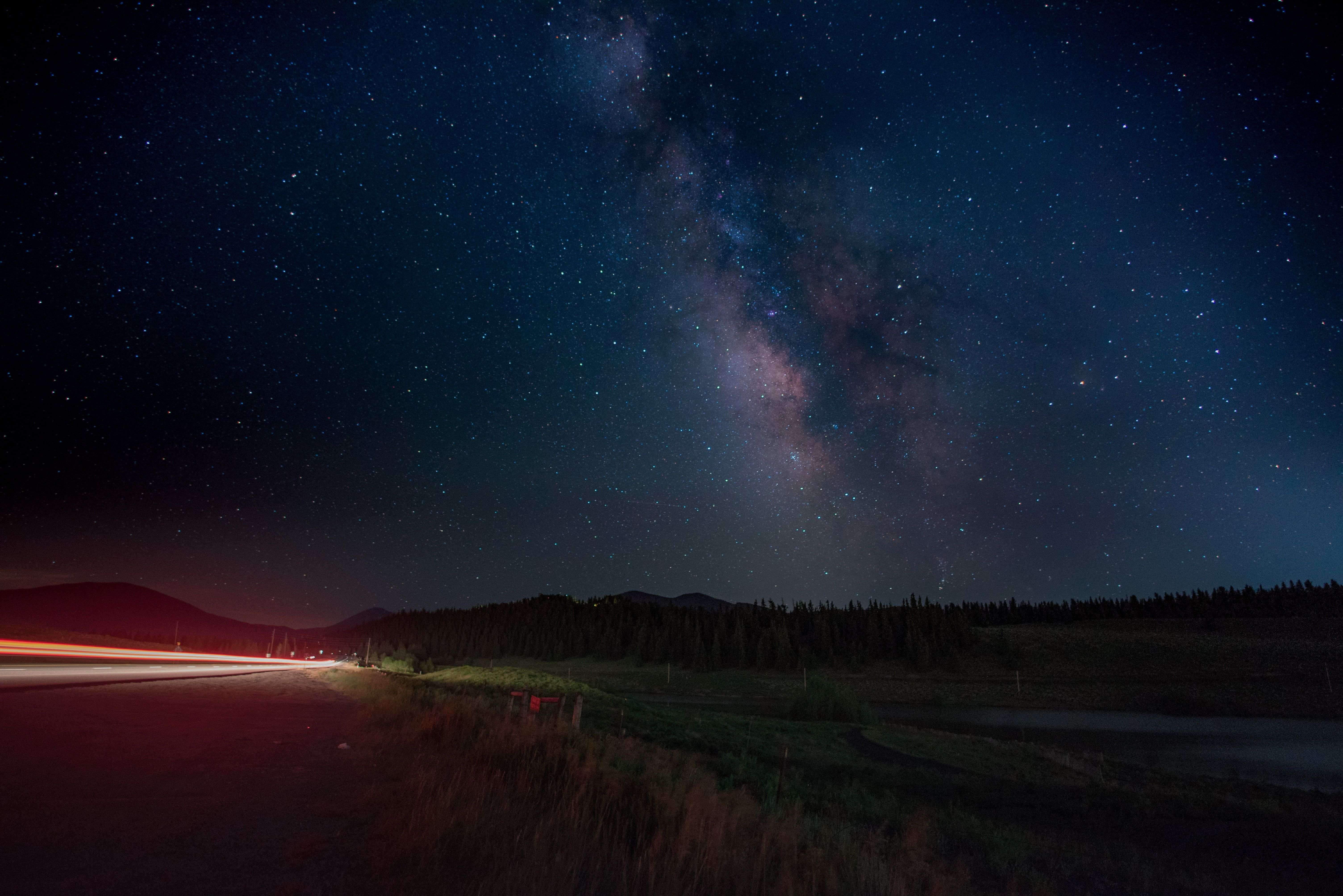 Milky Way Galaxy At Nighttime Road Starry Night Night Sky Lights Car Milky Way Long Exposure Light Trail Milky Way Galaxy Exposure Lights Starry Night Sky