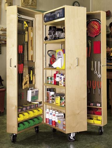 mobile tool cabinet woodworking plan, shop project plan | wood