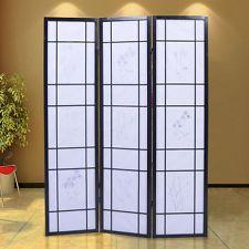 3 Panel Flowered Room Divider Screen Style Shoji Solid Wood Black New Room Divider Screen