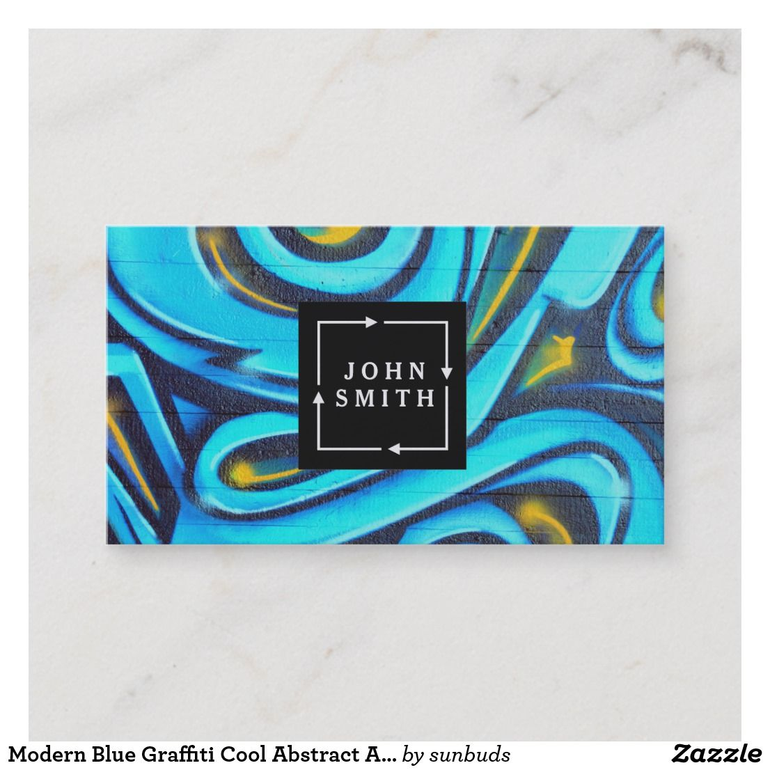 Modern Blue Graffiti Cool Abstract Art Business Card