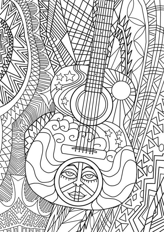 Guitar coloring page | Music Coloring Pages for Adults | Pinterest ...