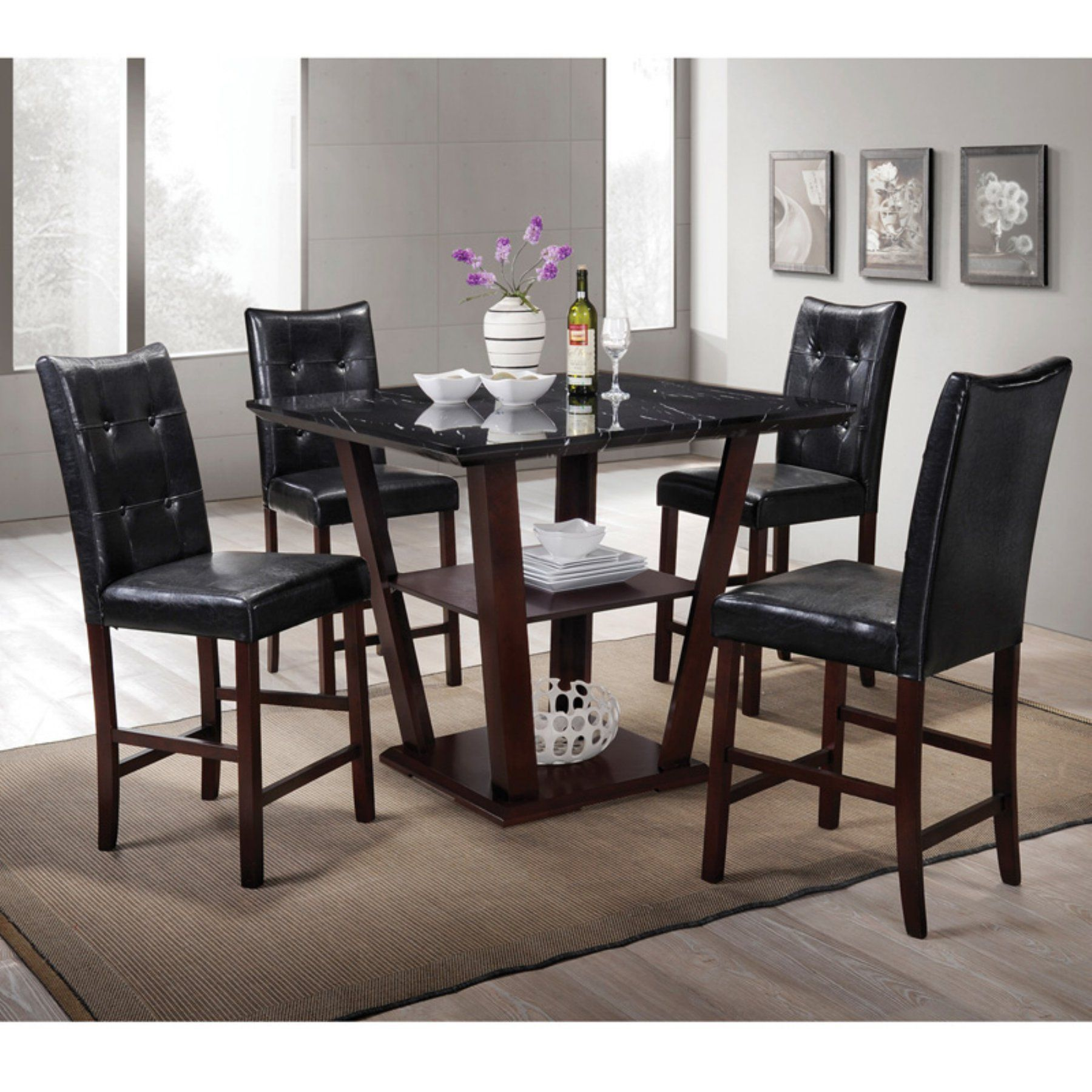 Home Source Industries 5 Piece Faux Marble Counter Height Dining