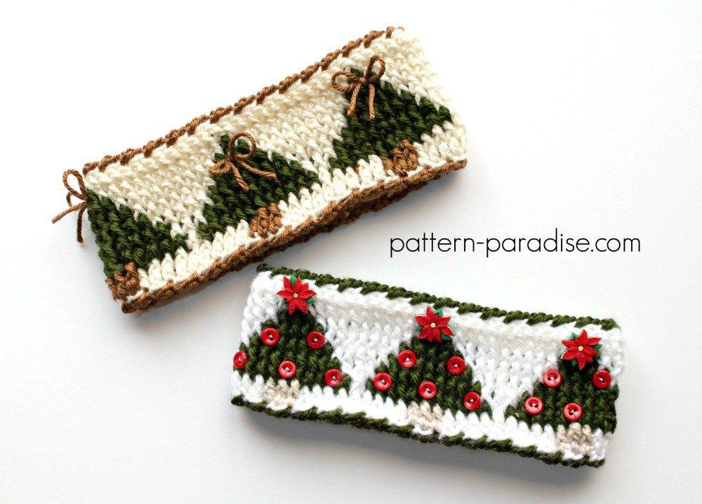 Free Crochet Pattern Christmas Tree Headband | Crochet ~ Clothing ...