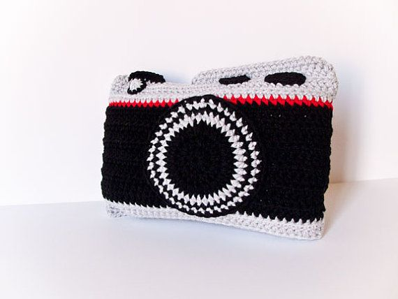 Handmade camera pillow,Crochet Camera Pillow, photographer pillow ...
