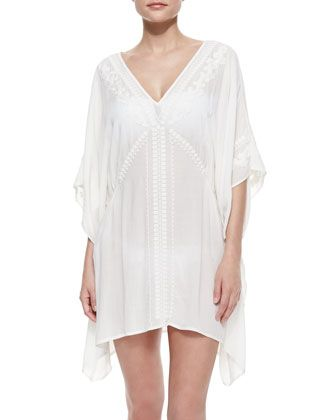 Deja-Blue Embroidered Caftan Coverup, White by Nanette Lepore at Neiman Marcus.