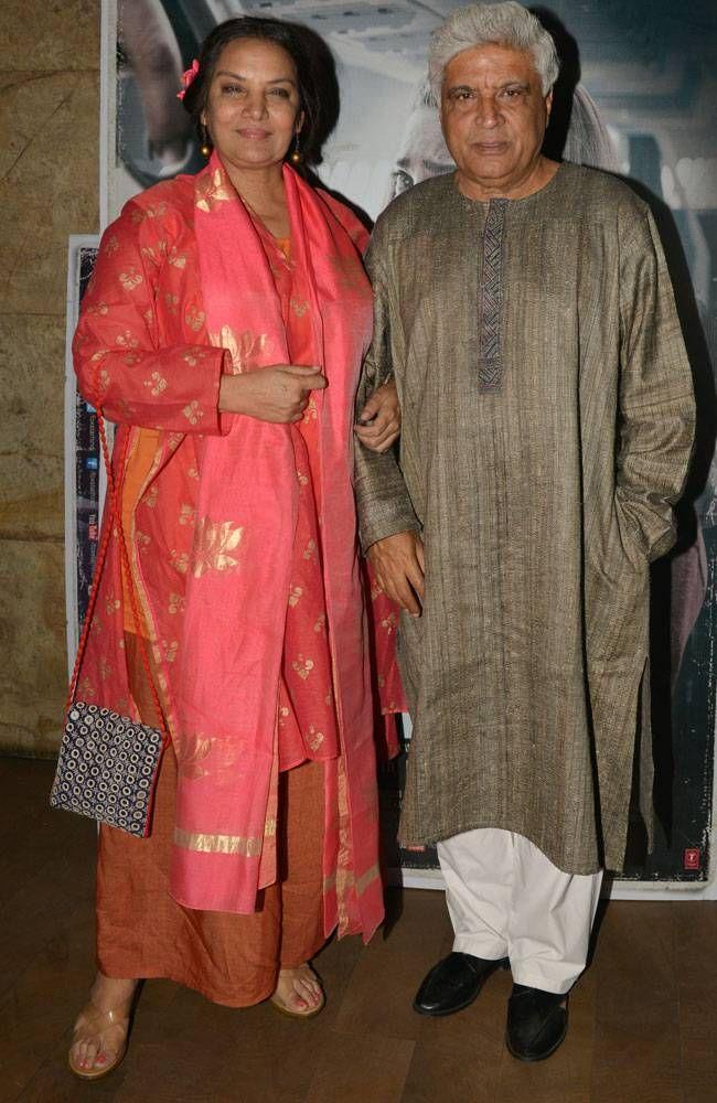 Shabana Azmi and Javed Akhtar at Neerja screening