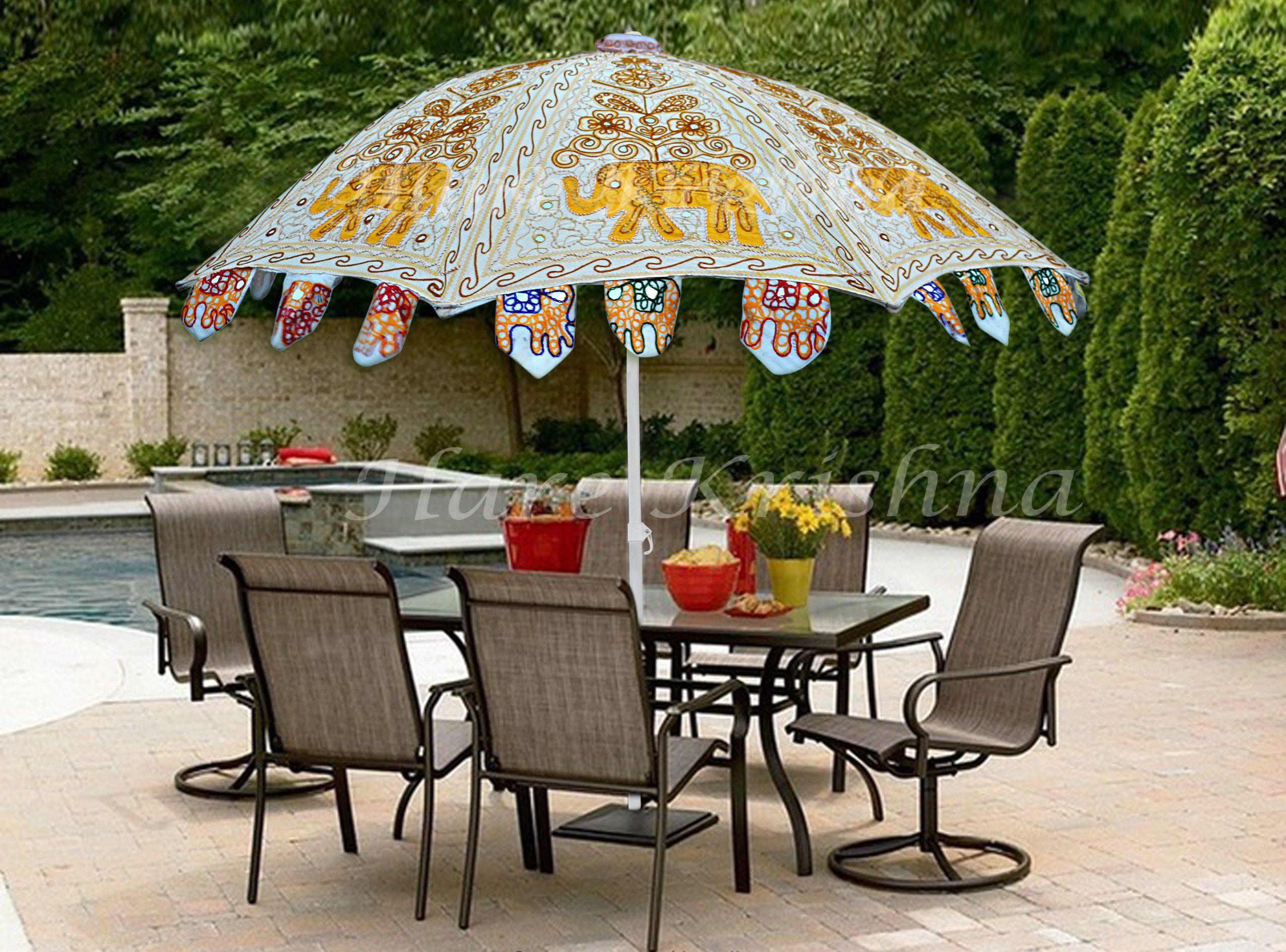 Hare Krishna Large Garden Parasol Round Outdoor Cafe Resort